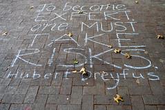 Hubert Dreyfus (jpellgen) Tags: travel art fall chalk nikon quote kentucky ky roadtrip september sidewalk louisville 1855mm professor nikkor expert risks calberkeley 2013 crackingart hubertdreyfus d3100
