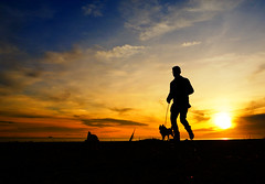 Iona Beach (. Jianwei .) Tags: sunset dog man color beach silhouette vancouver glasses running richmond iona   jianwei kemily