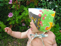 Summer bonnet made from a wonderful vintage Mothercare pillow slip. Love it! (Heart felt) Tags: vintage handmade hats hugo bonnet heartfelt mothercare