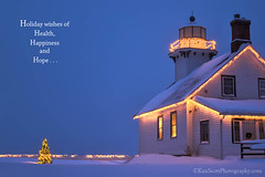 Holiday Greetings to all my flickr'connects! (Ken Scott) Tags: usa snow twilight december michigan christmaslights oldmissionlighthouse 45thparallel grandtraversecounty holidaygreeting 2013 balancedexposures kenscottphotography kenscottphotographycom