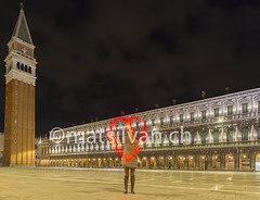 With Love from Piazza San Marco in Venice Italy (Mats Silvan) Tags: old longexposure venice sky people italy woman color building tower love lamp architecture night square outside alone arch place heart antique famous illuminated romantic lighttrails paiting oneperson sanmarco heartshape piazzasanmarco standingup veneto lightpaiting