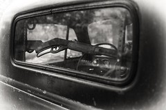 Cowboy's Truck (philven) Tags: old window truck rifle rack