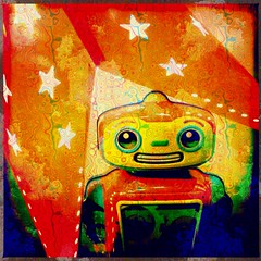 Live Long and Prosper (Ba®ky) Tags: orange art japan metal toy toys pattern space jesus cartoon surreal kitsch robots psychedelic wacky cartoonish iphone barky سكس wowiekazowie iphoneography ba®ky barkyvision