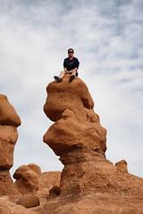 Climbing (Fionn Luk) Tags: usa rock canon landscape climb utah us view unitedstates scene adventure climbing valley goblin 5d states luk selfie fionn goblinvalleystatepark