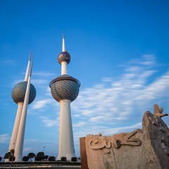 Kuwait - Happy National and Liberation Day ! (Yousef Bohamed) Tags: city blue sea tower college spring big education nikon purple tide towers lee kuwait basic  ebb stopper d800 1635 yousef             bohamed