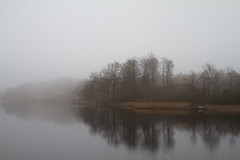 Misty morning (xibalbax) Tags: winter sky mist lake tree water forest canon reflections pier boat sweden cottage 7d 1755mm canoneos7d