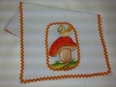 Toalha de Boca Pintado - Cogumelo G002 (SaluArts) Tags: de infantil beb toalha nuvem boca pintura paninho fralda fraldinha enxoval