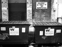 Delivery Only, No Dumpsters (Kevin_Waltz) Tags: street leica white chicago black lumix photography illinois alley no 14 panasonic only delivery dumpsters summilux 25mm gx1