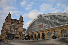 """Lime Street Station (CoasterMadMatt) Tags: city uk england west building english station architecture train liverpool season outside photography hall photo spring exterior photos britain united great north railway kingdom it structure musical photographs photograph be western gb april beatles british let jmu limestreet thebeatles merseyside 2014 letitbe """"united """"spring """"great cityofliverpool west"""" photography"""" liverpoollimestreet """"north season"""" kingdom"""" britain"""" northwesternhall coastermadmatt april2014 coastermadmattphotography"""