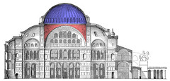 Elevation with Dome in Blue and Pendentives in Red