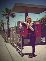 Tram Stop (Foto24 Phototography) Tags: city color girl beauty sunglasses inge blond