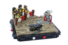 Triumph of the Red Knight or The Black Knight's Demise (Digger1221) Tags: red black brick castle dark lego or knights triumph knight minifigs build joust heroic peasant demise moc vig minifigures vginette