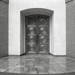 Doorway, Chapel of Mary, The Grotto, Portland (austin granger) Tags: film architecture bronze square portland geometry circles mary chapel doorway marble catholicism carrara thegrotto gf670 austingranger