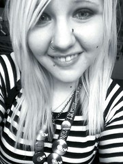 new icon (jesyka.hope) Tags: blackandwhite selfportrait me hair stripes blonde piercings selfie lanyard