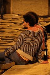 Night with wine (Toni Kaarttinen) Tags: city italien boy italy man rome roma men guy boys night dark bottle italia sitting wine roman butt relaxing drinking guys jeans nighttime rom italie lazio romo italio