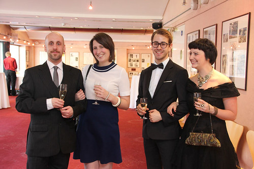 Guests at a drinks reception before the European premiere of Breathe In at Festival Theatre