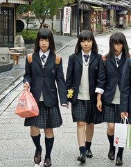 "Kyoto schoolgirls ""Kill Bill"" style (Tiigra) Tags: 2012 japan city detail dress people portrait road kyoto kyotoprefecture"
