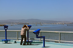 Son and telescopes (Walt Barnes) Tags: water canon eos oakland calif telescopes middleharbor 60d canoneos60d eos60d ebparksok wdbones99