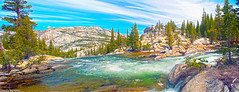 Bend, Tuolumne River (Steven Barrows) Tags: sky panorama mountains water nationalpark hiking alpine yosemitenationalpark highsierras stitched hdr usnationalpark tuolumneriver tiogaroad glenaulintrail nikond5000