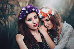 Nymphs (Alessia.Izzo) Tags: flowers girls roses portrait orange white nature canon purple 85mm crown dreamy nymph 6d