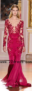 Hot Zuhair Murad Dresses Sexy V Neck Lace Chiffon Long Sleeve Red Evening Dresses from 27dress.com