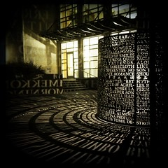 Artist Jim Sanborns illuminated sculpture outside the M.D. Anderson Library at the University of Houston (mollyblock) Tags: sculpture art architecture night texas library libraries tx houston universityofhouston univ