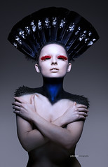 The Exhibitionist (Jodie Mann) Tags: blue red woman bird art beauty female dark scotland highlands model eyelashes body feathers makeup exhibition topless editorial conceptual headdress highfashion implied capercaillie