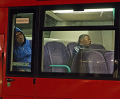 Emergency Exit (stevedexteruk) Tags: street sleeping red bus men london westminster night photography circus candid transport passengers oxford exit emergency 2013