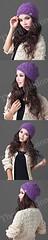 HW-0003-หมวกไหมพรมโครเชต์ลายละเอียดใส่กระชับศีรษะและใบหูอบอุ่นเรียบหรูมีสไตล์-สีม่วง