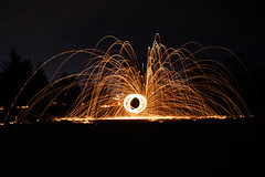 Steel Wool (Kayla Richardson) Tags: longexposure light night canon landscape fire lights cool low shutterspeed steelwool landscapephotography femalephotographer