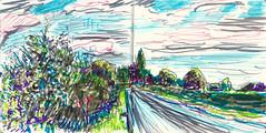 Road to Standlake (Martin Beek) Tags: felttip drawing sketch sketchbook art colour pen line landscape study 20122016 notebook notes 201216 nature