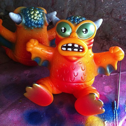 RAMPAGE painted micro run of @monsterworship x Jeff Lamm Sitting Mini Greasebat!  For tomorrow's opening here at RAMPAGE STUDIOS!
