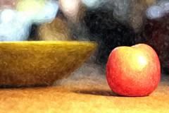 Apple & Bowl (Benn Gunn Baker) Tags: life pink colour texture apple water lady painting photo still october day foto baker 21st bowl international benn gunn cripps 2013 sketchr
