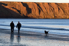 Filey dog-walkers (geoffspages) Tags: beach geotagged yorkshire filey geo:lat=5420870988171141 geo:lon=028342366218566895