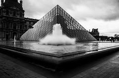 Glass Pyramid (MJEFF1) Tags: white black water fountain glass canon pyramid courtyard 1855mm corners