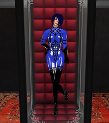 Emergency Alex (alexandriabrangwin) Tags: blue woman black glass alexandria fetish computer hair 3d high graphics funny break cabinet bondage secondlife virtual heels latex harness emergency coloured catsuit cgi kink hugosdesign brangwin
