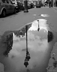 Paris Puddle Reflection (Kevin Dern) Tags: bw paris france europe politics fave fujix100s x100s