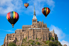 Hot Air Balloons - Mont Saint-Michel (freestock.ca  dare to share beauty) Tags: old travel sky cloud france hot color building tower castle classic tourism monument colors beautiful beauty saint st architecture fairytale clouds photomanipulation balloons french freedom michael fly flying photo fantastic ancient scenery colorful europe european image cloudy fort vibrant background air stock balloon scenic picture free objects landmark scene medieval structure legendary mount fantasy photograph nicolas raymond colourful stmichel soaring michel fortress normandy mont epic tale resource soar touristic saintmichel somadjinn freestockca vision:outdoor=0978 vision:sky=0913