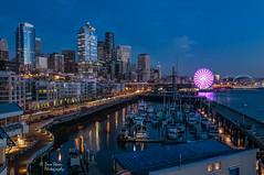 Seattle Twilight (NW Vagabond) Tags: seattle blue skyline twilight waterfront hour elliottbay 2014 pier66 bellharbor greatwheel