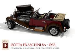Isotta Fraschini 8A Dual-Cowl Sports Tourer 1933 (lego911) Tags: auto italy classic sports car vintage coach model italian italia lego render 8 veteran viva luxury challenge cad lugnuts 76 povray tipo phaeton moc castagna tourer isotta ldd fraschini 8a vivaitalia miniland coachbuilt dualcowl lego911