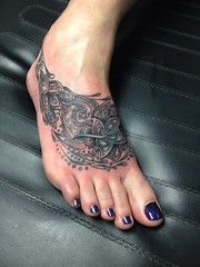 Foot tattoo by Wes Fortier - Burning Hearts Tattoo Co. 1430 Meriden Rd.  Waterbury, CT