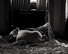 Won't you breathe with me? (sadandbeautiful (Sarah)) Tags: portrait bw woman selfportrait abandoned philadelphia me church female self plastic discarded urbex rectory
