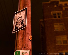 The Faces (SmallTransgressions) Tags: seattle art public washington faces telephone pole cpr