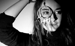 Holly (Wumi.A) Tags: portrait blackandwhite bw white black girl face person pretty feathers dream dramatic ornament mysterious teenager jumper beginner dreamcatcher