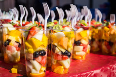 Fruit Cups (ATKay) Tags: red food orange colour yellow fruit strawberry fork melon grape