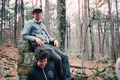 Andrew & Whit (BurlapZack) Tags: camping trees chimney portrait mountain film nature fog analog forest chair woods ruins bokeh grain foggy roadtrip adventure jacket rainy 35mmfilm denim exploration grainisgood throne drizzle canoneosa2e campingtrip ouachitanationalforest 800iso windingstairmountain tungstenbalance colorconversion ancientaliens 85afilter campvibes canonef40mmf28stm cinestillfilm