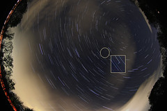 Meteor Storm? ... A Single Camelopardalid Meteor Captured (Radical Retinoscopy) Tags: clouds canon star may wideangle fisheye astrophotography astronomy meteor astrophoto polaris startrail meteorshower canoneost2i canon815mm starstax camelopardalid maycamelopardalid