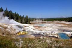 Norris Geyser Basin - Yellowstone National Park, Wyoming (Andrea Moscato) Tags: park blue trees sky parco usa mountain hot green nature water pool grass yellow rock pine alberi america landscape us spring view unitedstates natural stones natura steam national cielo vista np acqua montagna paesaggio statiuniti naturale vapore andreamoscato