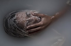 Take Me To A Sacred Place (Velvet Heaven) Tags: portrait white water soft head lace dream depression sacred bathtub cloth conceptual comfort suffocate suffocating