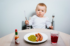 Dinner is served (Mikael T) Tags: baby funny sausage meal peas tabasco bildekritikk